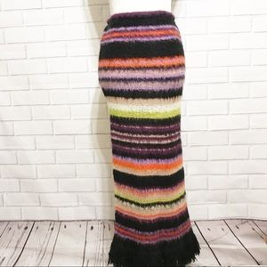 Sharagano Paris Rainbow Striped Maxi Skirt